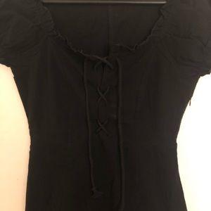 Nasty Gal black lace-up dress